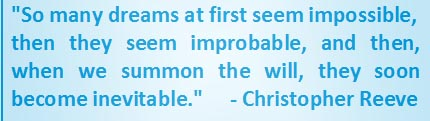 Christopher Reeve quote - so many dreams at first seem impossible
