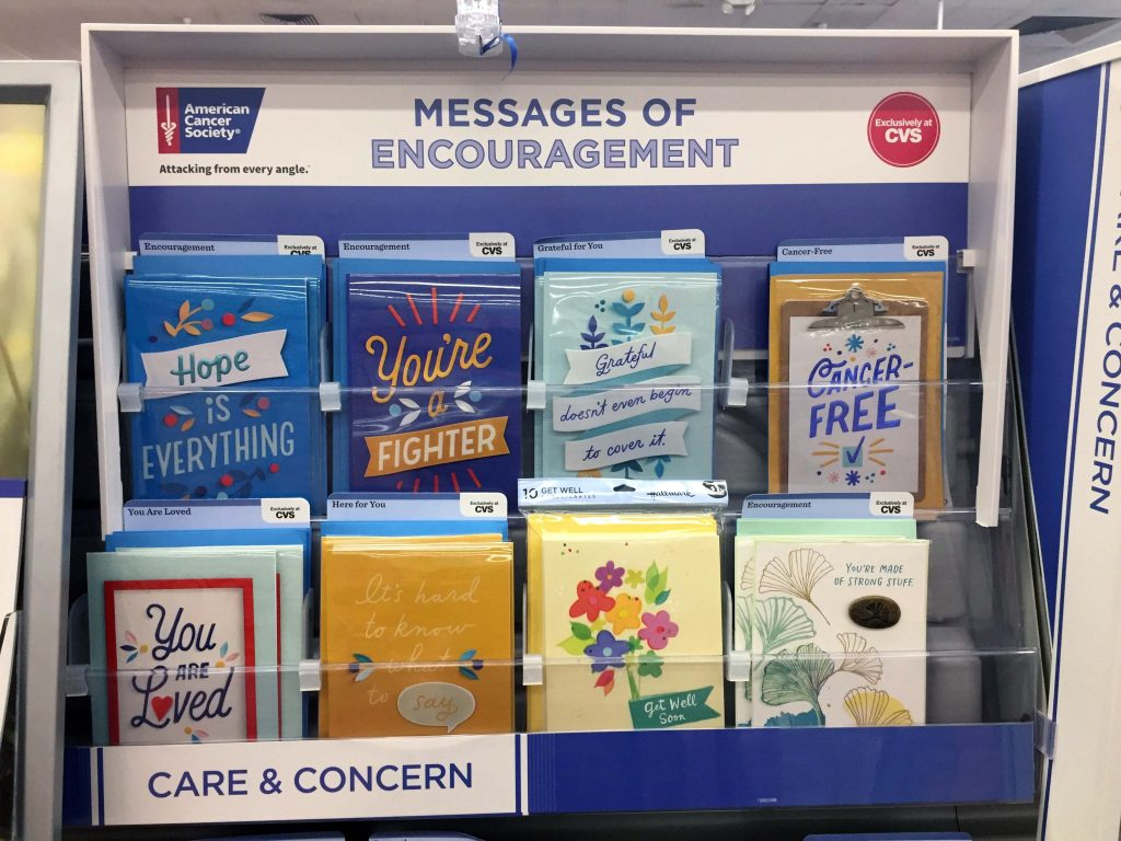 Photo of a display of greeting cards at the local CVS called Messages of Encouragement for people dealing with cancer.